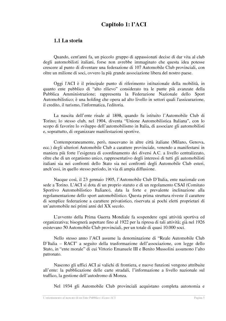 Anteprima della tesi: L'orientamento al mercato di un Ente Pubblico: il caso ACI, Pagina 4
