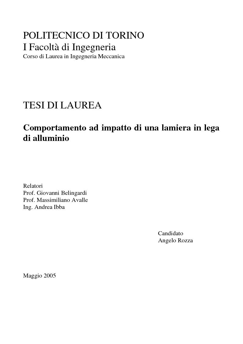 Anteprima della tesi: Comportamento ad impatto di una lamiera in lega di alluminio, Pagina 1