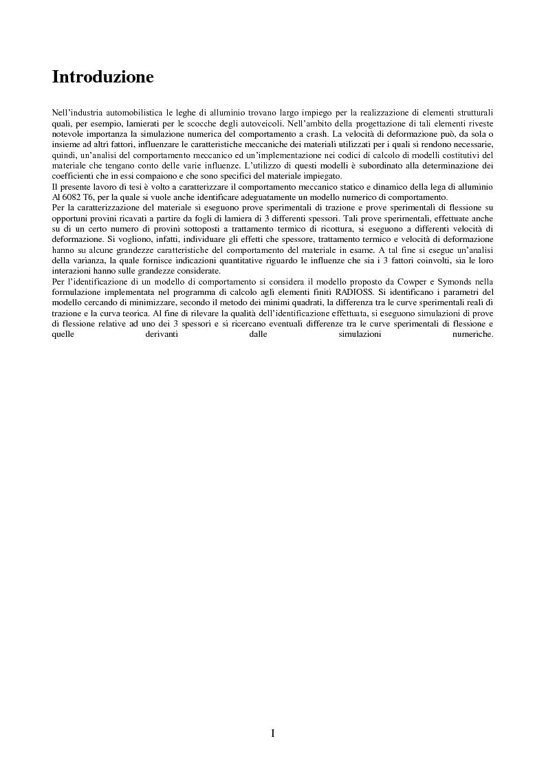 Comportamento ad impatto di una lamiera in lega di alluminio - Tesi di Laurea