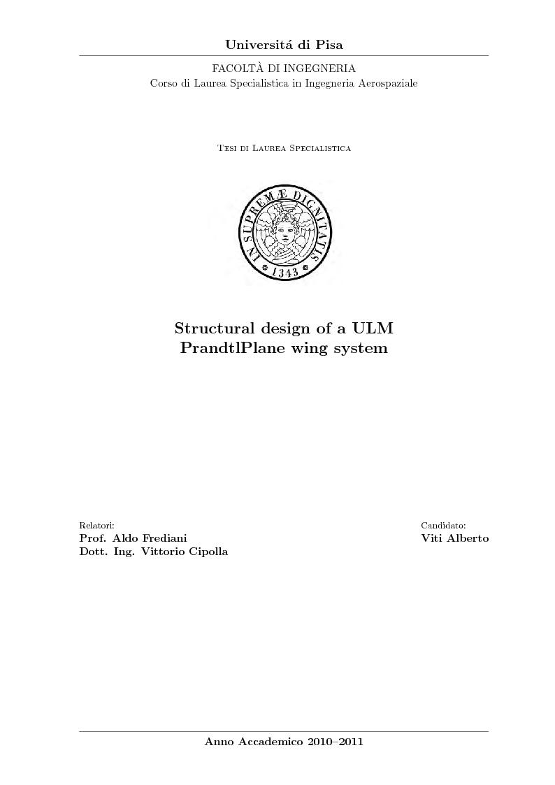 Anteprima della tesi: Structural design of a ULM PrandtlPlane wing system, Pagina 1