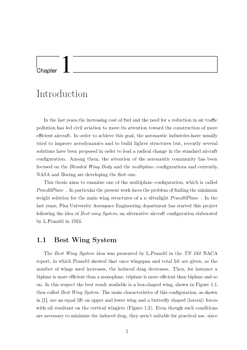 Anteprima della tesi: Structural design of a ULM PrandtlPlane wing system, Pagina 2