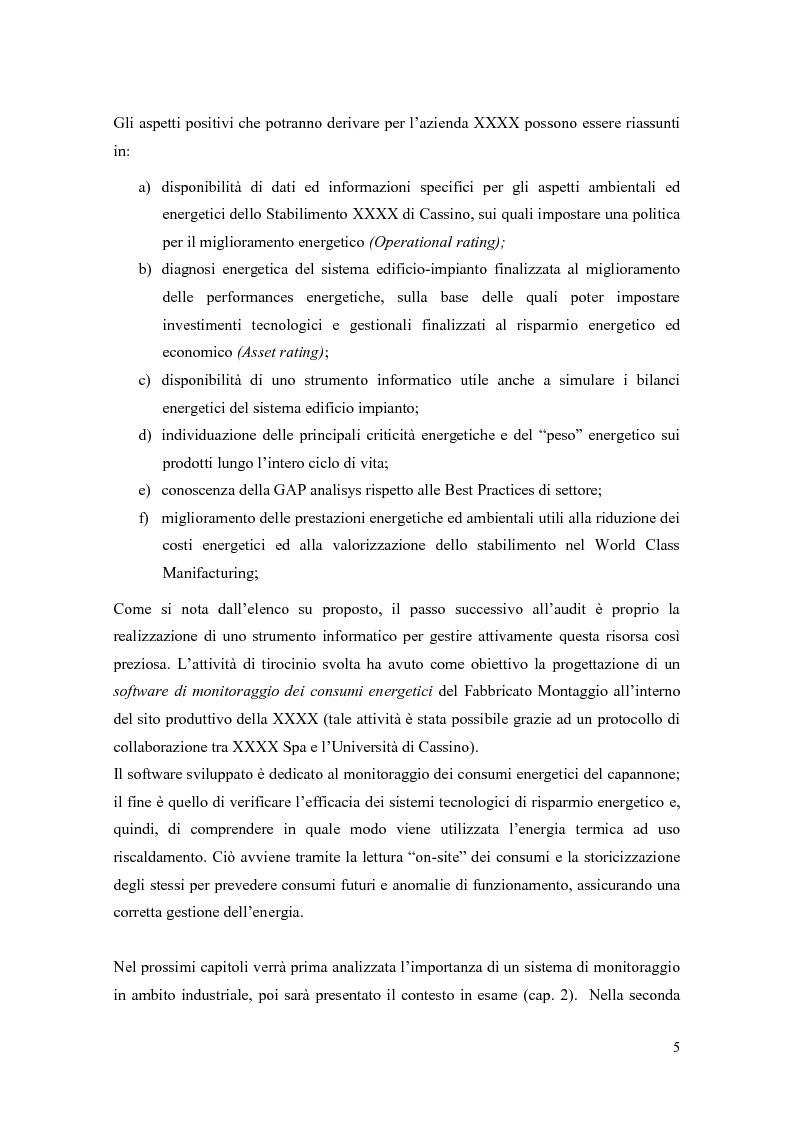 Anteprima della tesi: Progettazione di un sistema di acquisizione dati e messa a punto di un software per il monitoraggio dei consumi energetici XXXXXXX S.P.A., Pagina 5