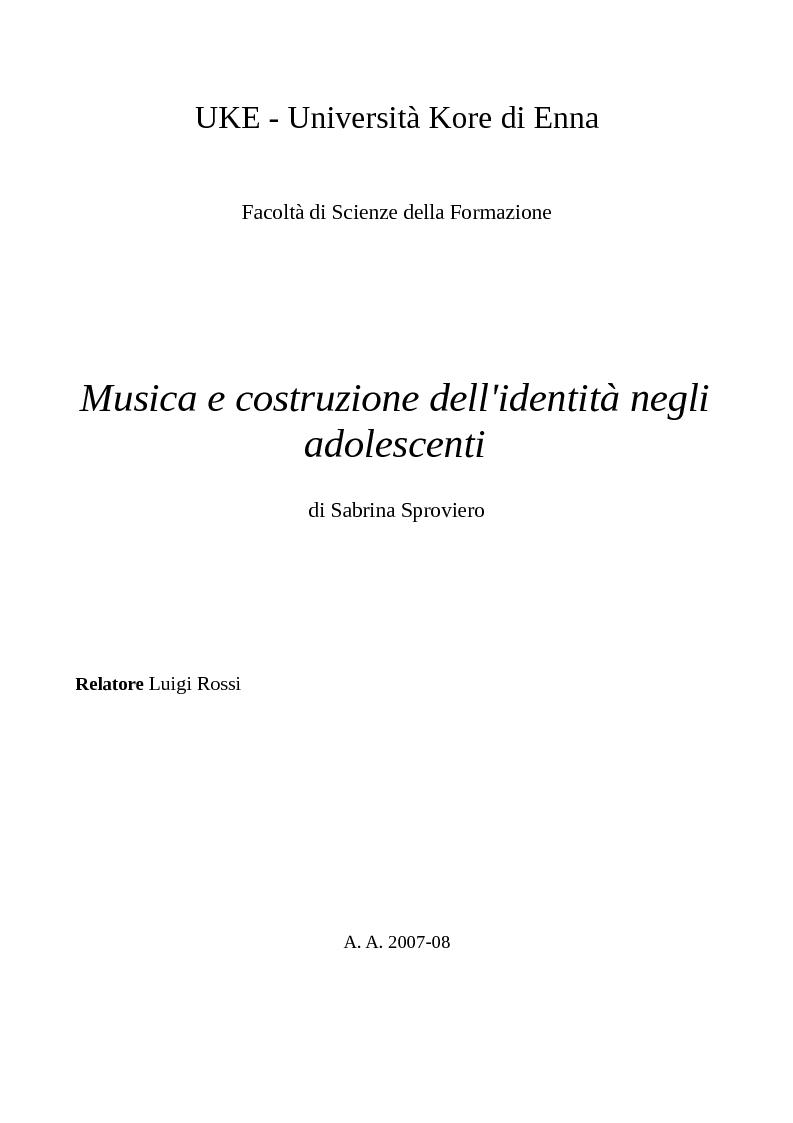 Anteprima della tesi: Musica e costruzione dell'identità negli adolescenti, Pagina 1