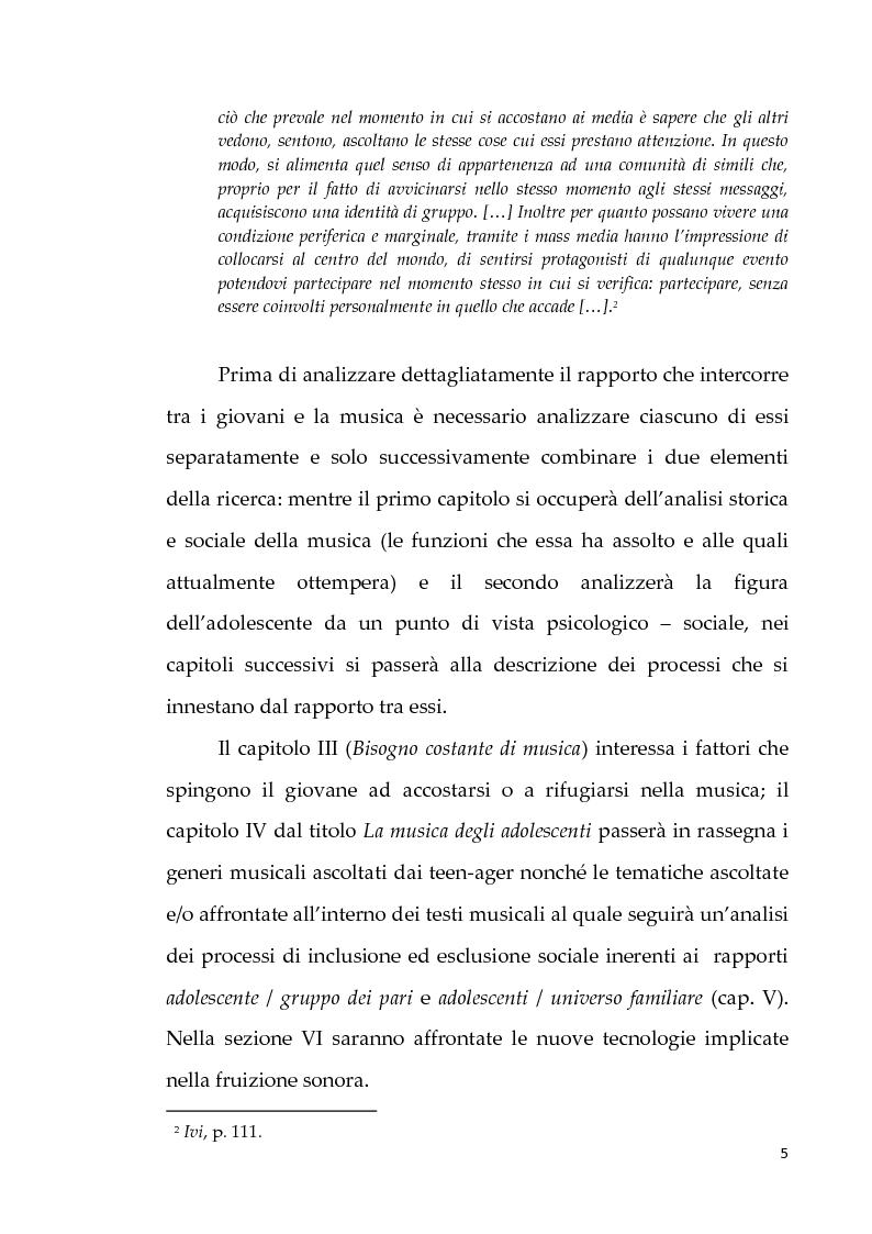 Anteprima della tesi: Musica e costruzione dell'identità negli adolescenti, Pagina 5
