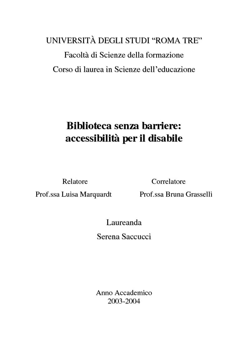 Anteprima della tesi: Biblioteca senza barriere: accessibilità per il disabile, Pagina 1