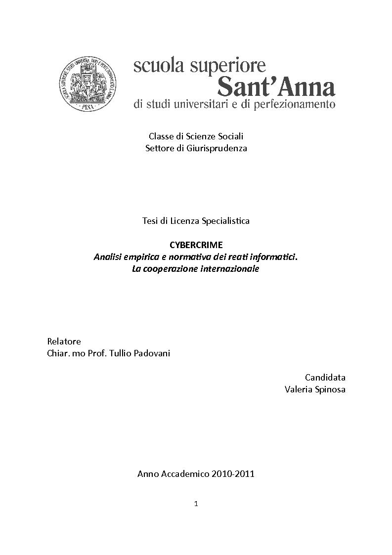 Anteprima della tesi: Cybercrime. Analisi empirica e normativa dei reati informatici. La cooperazione internazionale., Pagina 1