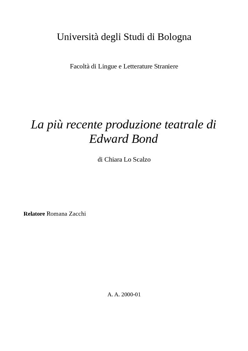 Anteprima della tesi: La più recente produzione teatrale di Edward Bond, Pagina 1