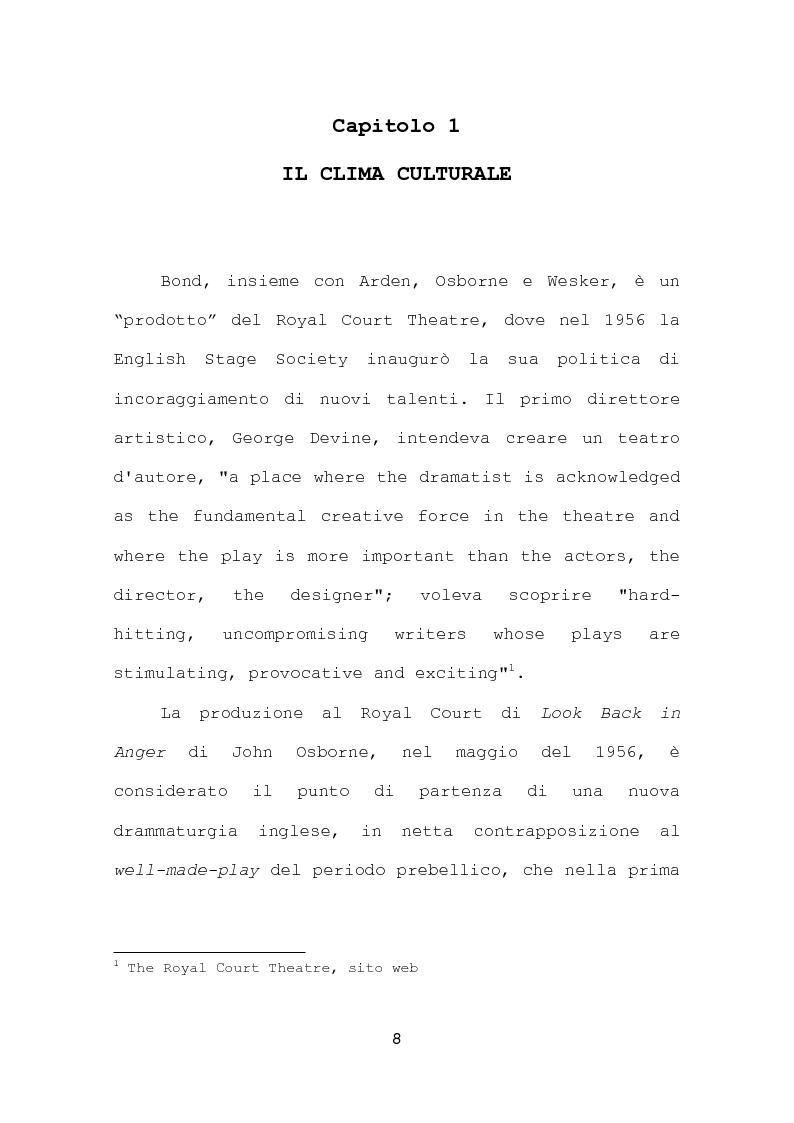 Anteprima della tesi: La più recente produzione teatrale di Edward Bond, Pagina 8