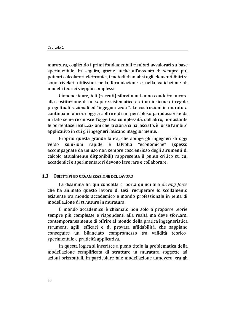 Anteprima della tesi: Analisi non lineare di pareti murarie sotto azioni orizzontali: modellazione a telaio Equivalente, Pagina 11