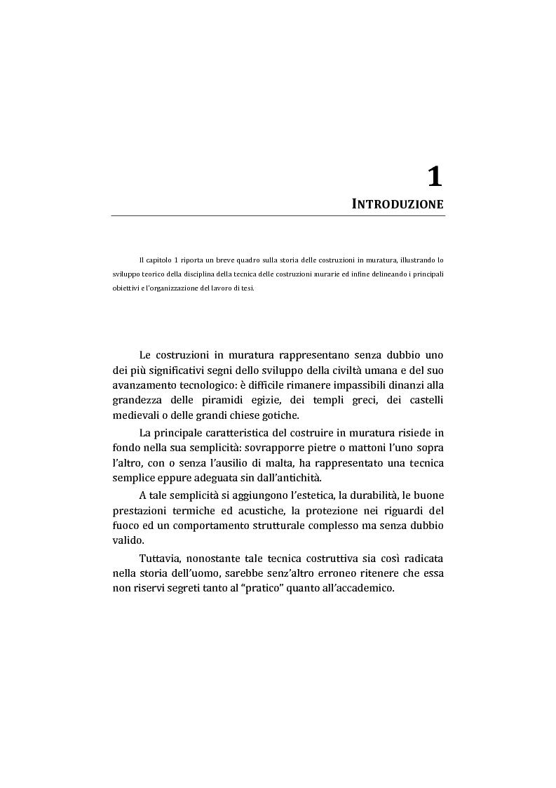 Anteprima della tesi: Analisi non lineare di pareti murarie sotto azioni orizzontali: modellazione a telaio Equivalente, Pagina 2
