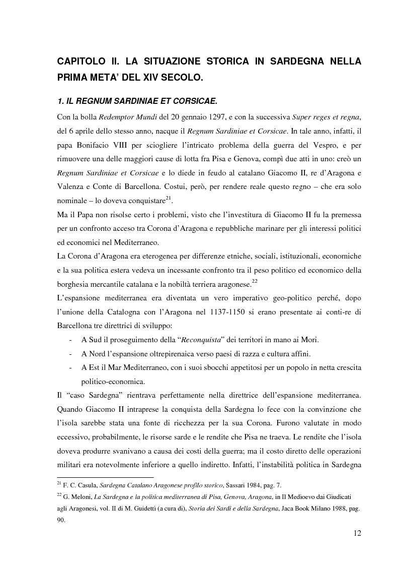 Anteprima della tesi: Dalla pace alla battaglia di Sanluri (1355-1409). Fonti documentarie e cronachistiche, Pagina 11