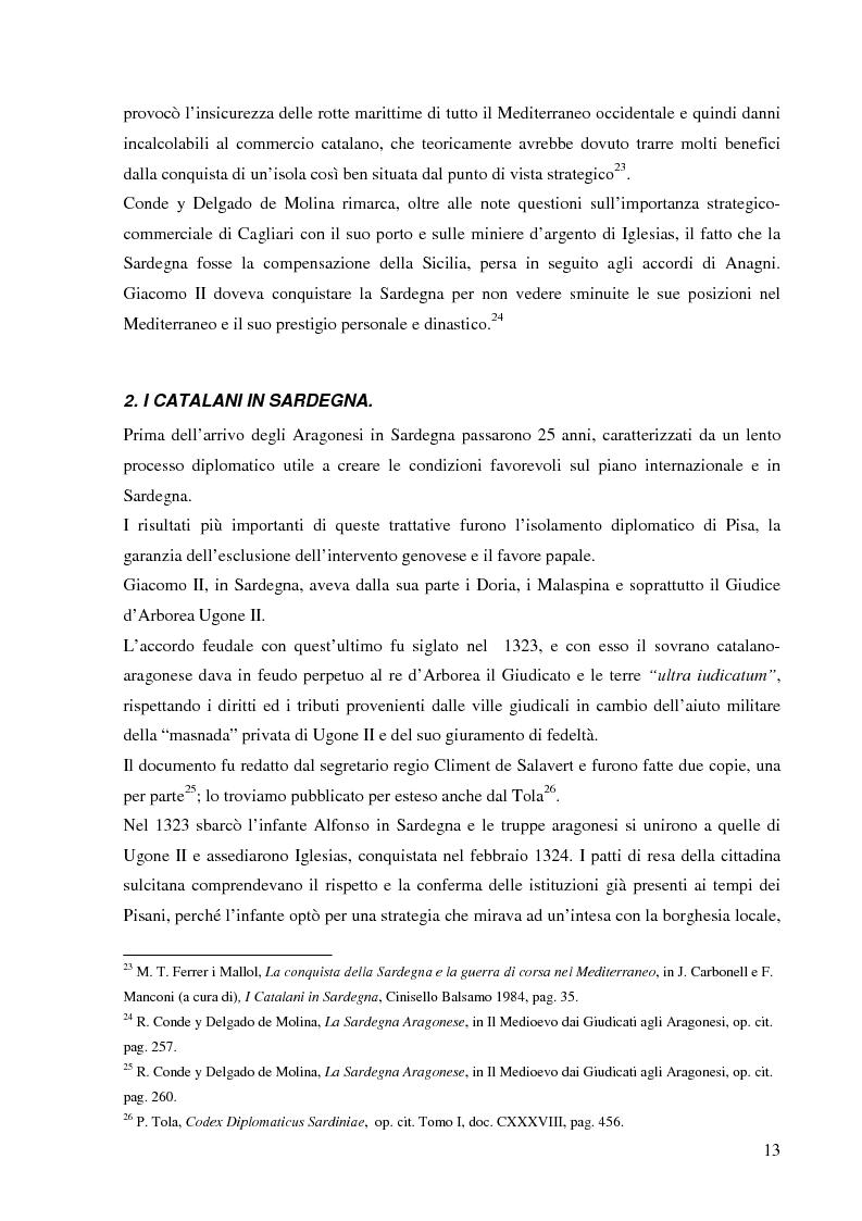 Anteprima della tesi: Dalla pace alla battaglia di Sanluri (1355-1409). Fonti documentarie e cronachistiche, Pagina 12