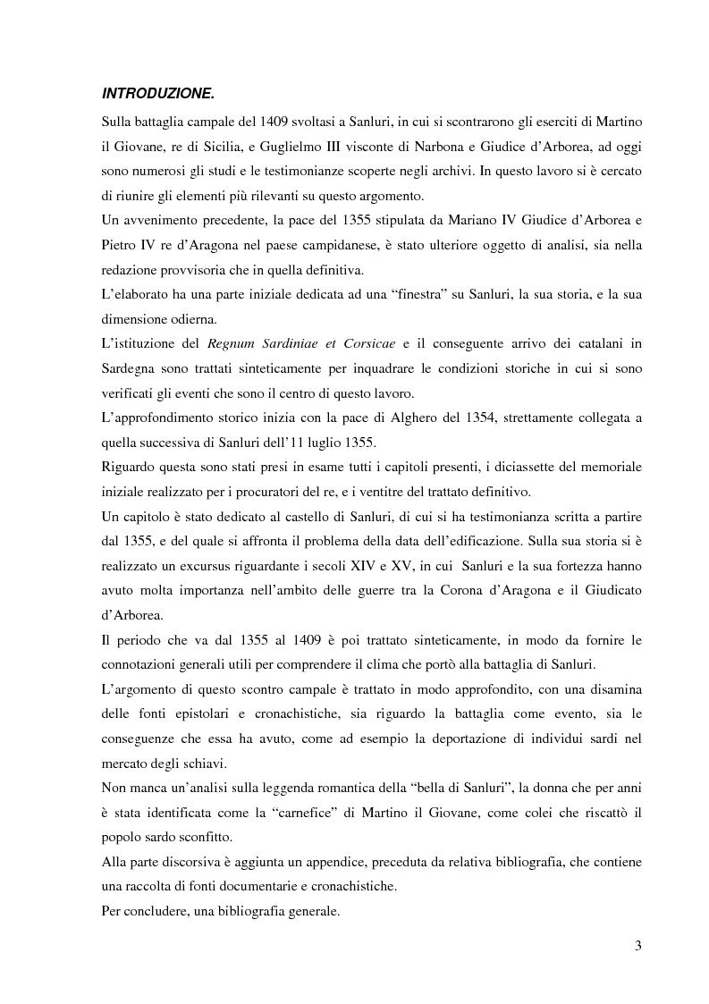 Anteprima della tesi: Dalla pace alla battaglia di Sanluri (1355-1409). Fonti documentarie e cronachistiche, Pagina 2