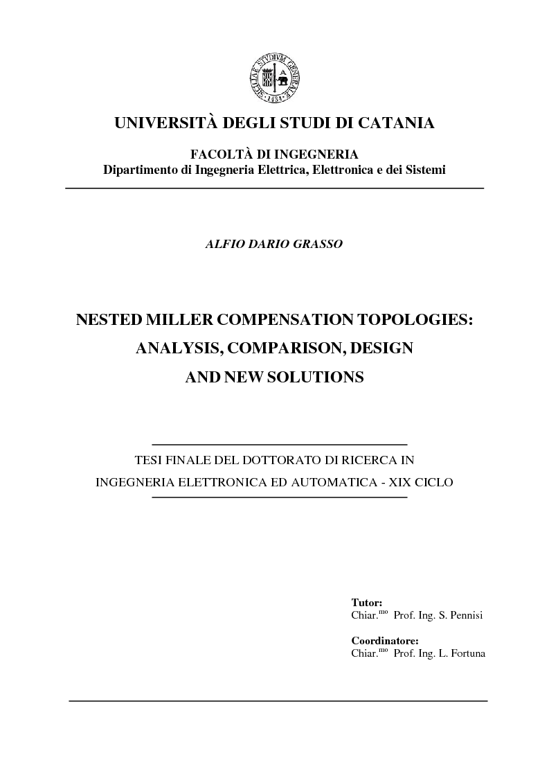 Anteprima della tesi: Nested Miller Compensation topologies: analysis, comparison, design and new solutions, Pagina 1