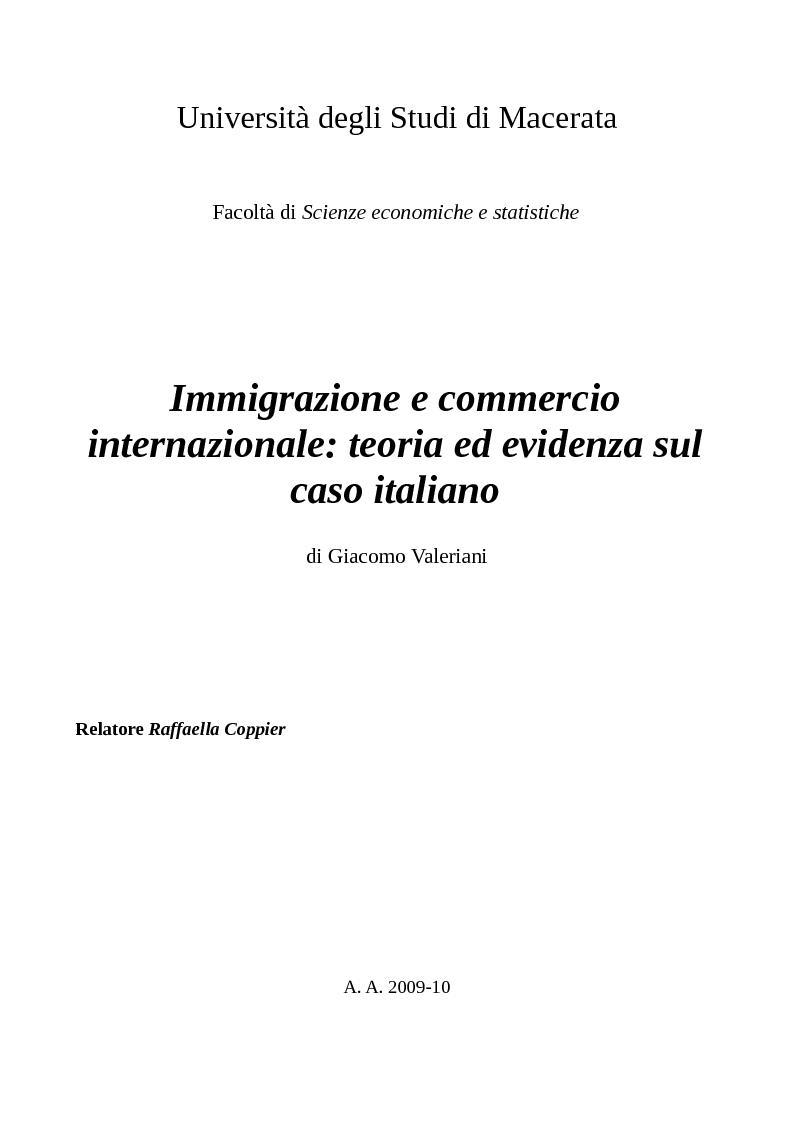 Anteprima della tesi: Immigrazione e commercio internazionale: teoria ed evidenza sul caso italiano, Pagina 1