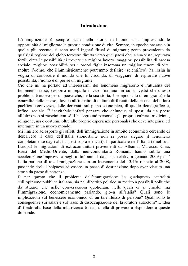 Anteprima della tesi: Immigrazione e commercio internazionale: teoria ed evidenza sul caso italiano, Pagina 2