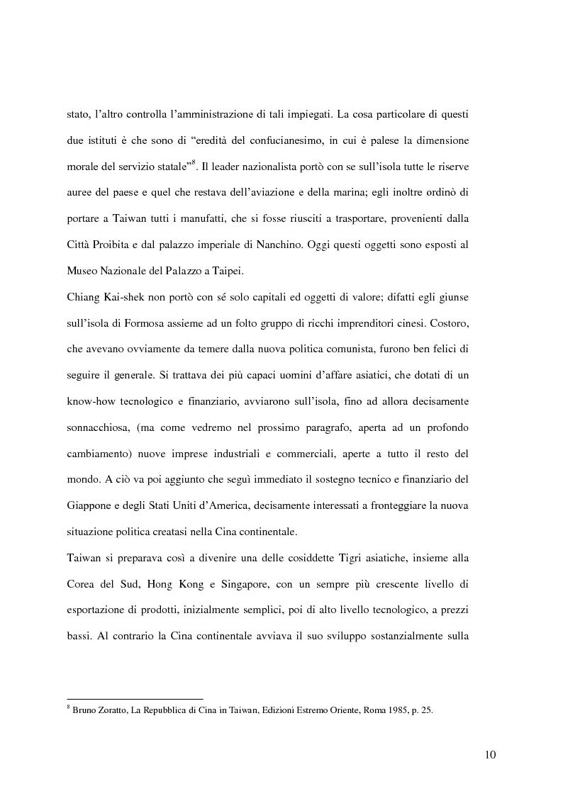 Anteprima della tesi: Taiwan: indipendenza o unificazione con la Cina. Una questione ancora irrisolta., Pagina 11