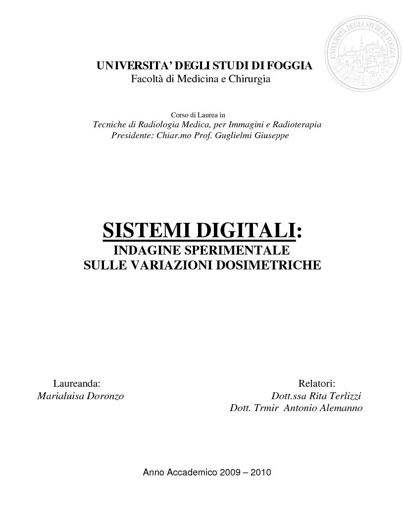 Anteprima della tesi: Sistemi digitali: indagine sperimentale sulle variazioni dosimetriche, Pagina 1
