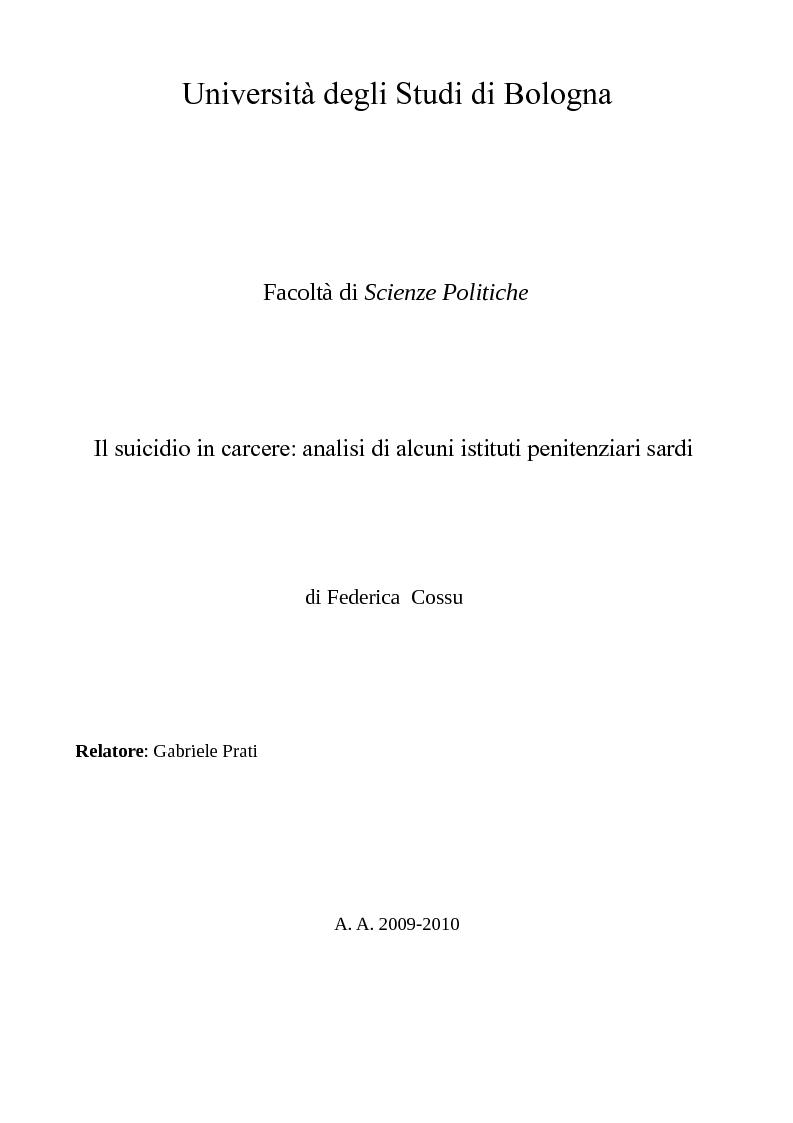 Anteprima della tesi: Il suicidio in carcere: analisi di alcuni istituti penitenziari sardi, Pagina 1