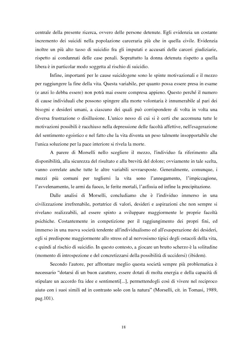 Anteprima della tesi: Il suicidio in carcere: analisi di alcuni istituti penitenziari sardi, Pagina 15