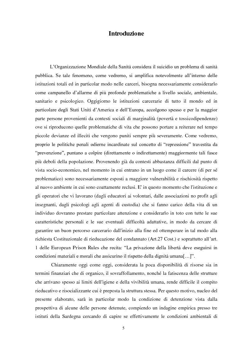 Anteprima della tesi: Il suicidio in carcere: analisi di alcuni istituti penitenziari sardi, Pagina 2