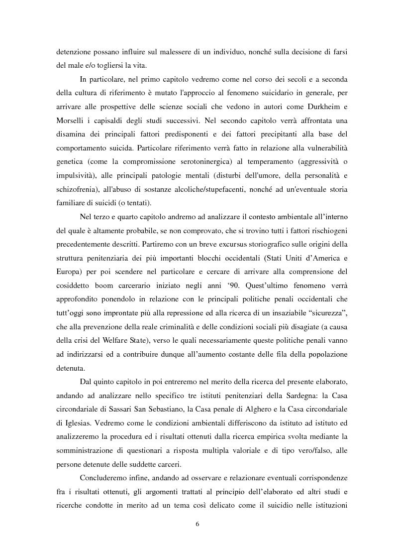 Anteprima della tesi: Il suicidio in carcere: analisi di alcuni istituti penitenziari sardi, Pagina 3