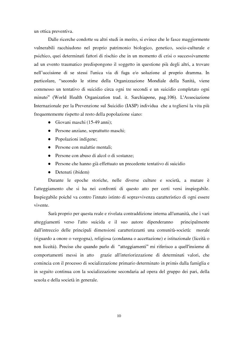 Anteprima della tesi: Il suicidio in carcere: analisi di alcuni istituti penitenziari sardi, Pagina 7