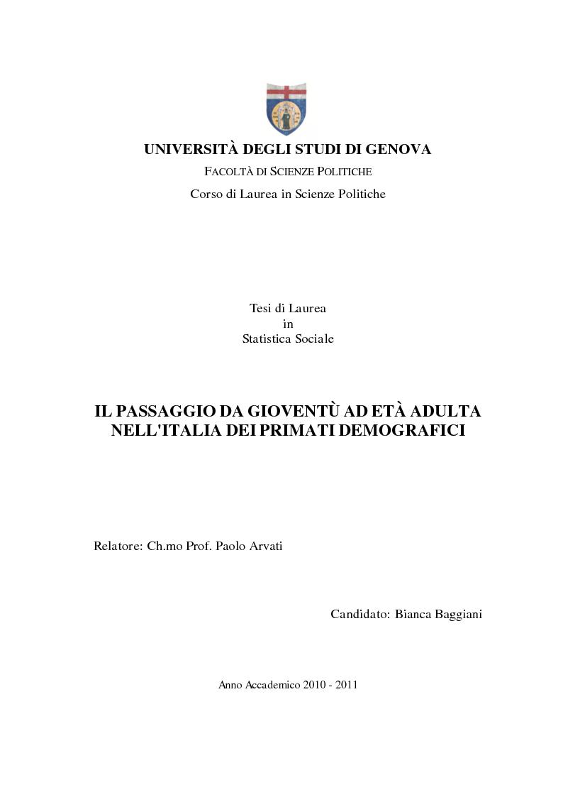 Anteprima della tesi: Il passaggio da gioventù ad età adulta nell'Italia dei primati demografici, Pagina 1