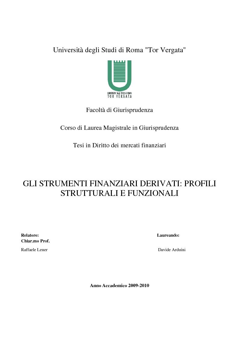 Anteprima della tesi: Gli strumenti finanziari derivati: profili strutturali e funzionali., Pagina 1