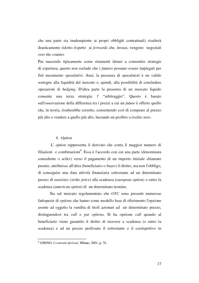Anteprima della tesi: Gli strumenti finanziari derivati: profili strutturali e funzionali., Pagina 12