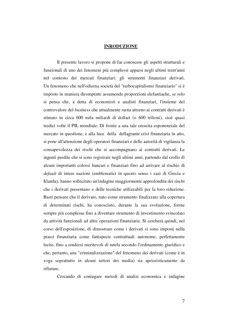 Anteprima della tesi: Gli strumenti finanziari derivati: profili strutturali e funzionali., Pagina 2