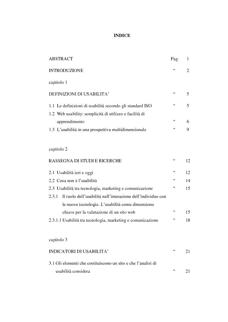 Indice della tesi: Bibliotechediroma.it: usabilità percepita dagli utenti e dagli operatori, Pagina 1