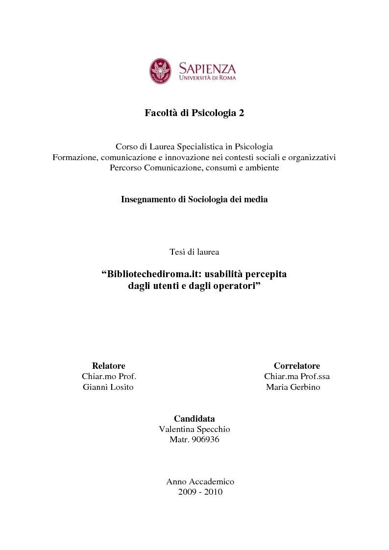 Anteprima della tesi: Bibliotechediroma.it: usabilità percepita dagli utenti e dagli operatori, Pagina 1