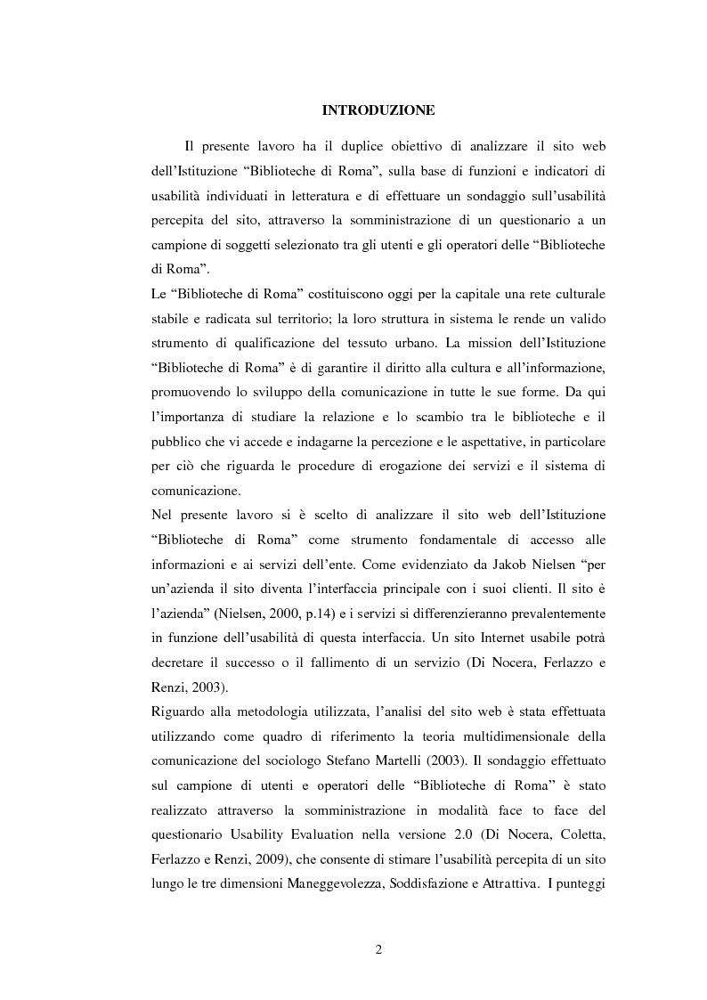 Anteprima della tesi: Bibliotechediroma.it: usabilità percepita dagli utenti e dagli operatori, Pagina 2