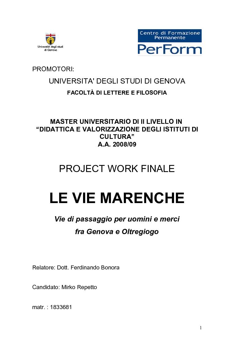 Anteprima della tesi: Le vie Marenche Vie di passaggio per uomini e merci fra Genova e Oltregiogo, Pagina 1