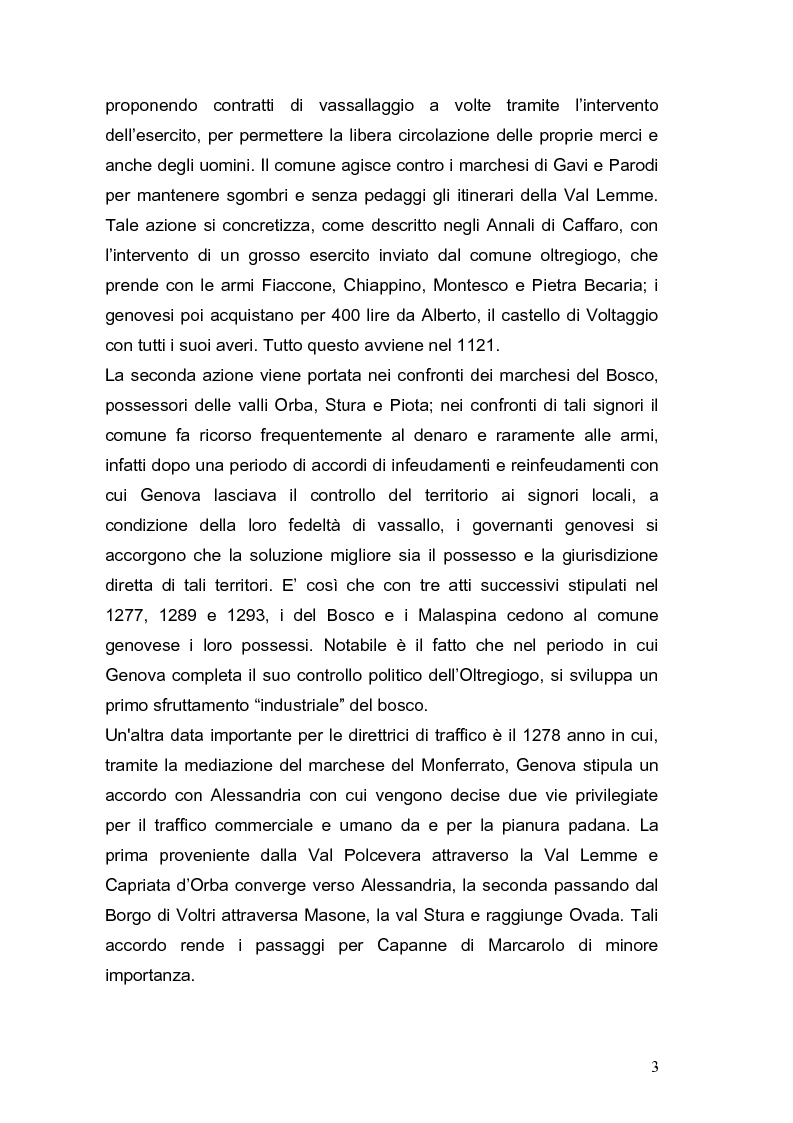 Anteprima della tesi: Le vie Marenche Vie di passaggio per uomini e merci fra Genova e Oltregiogo, Pagina 3