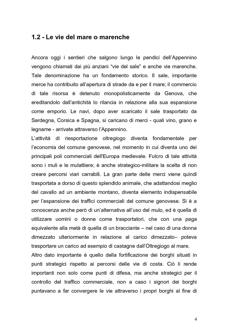 Anteprima della tesi: Le vie Marenche Vie di passaggio per uomini e merci fra Genova e Oltregiogo, Pagina 4