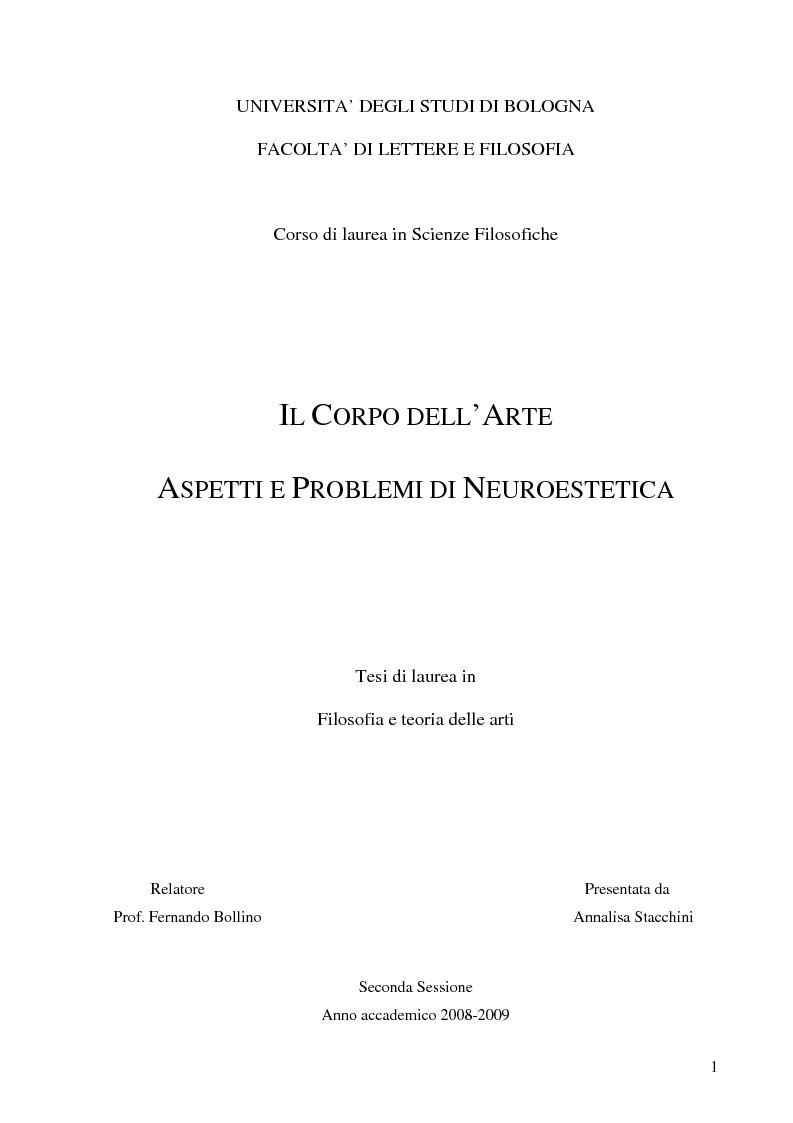 Anteprima della tesi: Il corpo dell'arte. Aspetti e problemi di Neuroestetica, Pagina 1