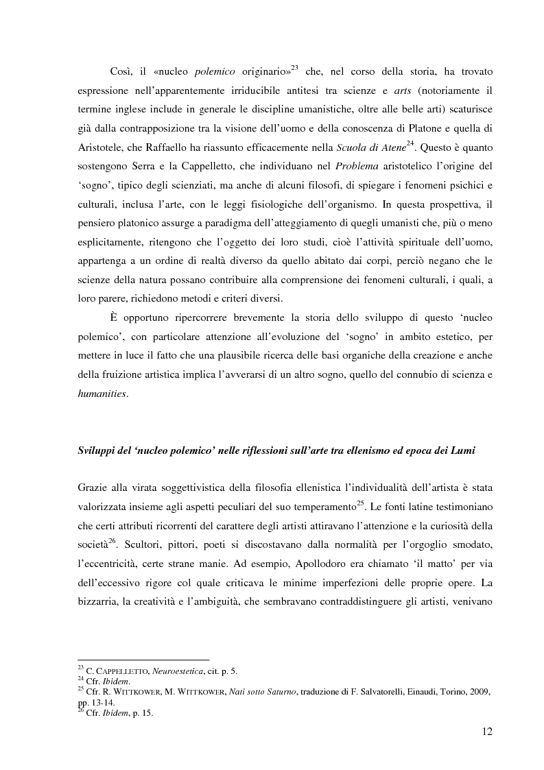 Anteprima della tesi: Il corpo dell'arte. Aspetti e problemi di Neuroestetica, Pagina 10