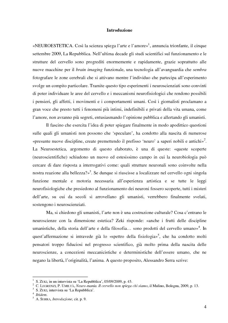 Anteprima della tesi: Il corpo dell'arte. Aspetti e problemi di Neuroestetica, Pagina 2