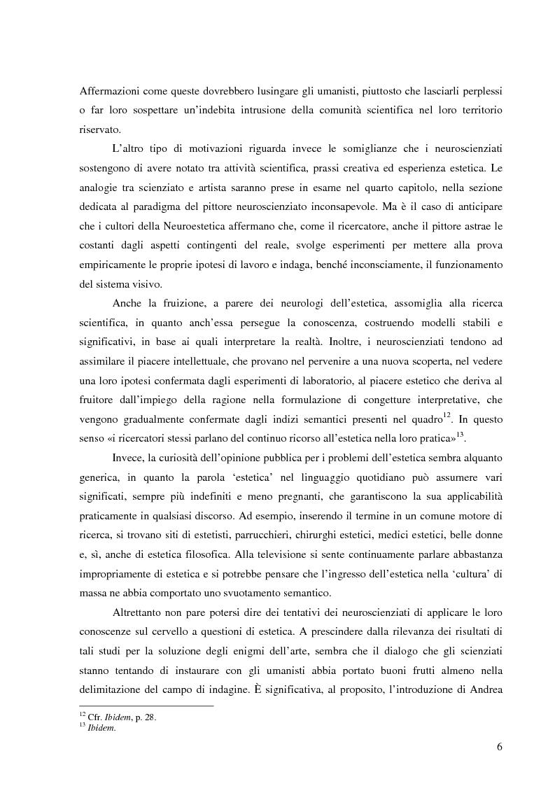 Anteprima della tesi: Il corpo dell'arte. Aspetti e problemi di Neuroestetica, Pagina 4