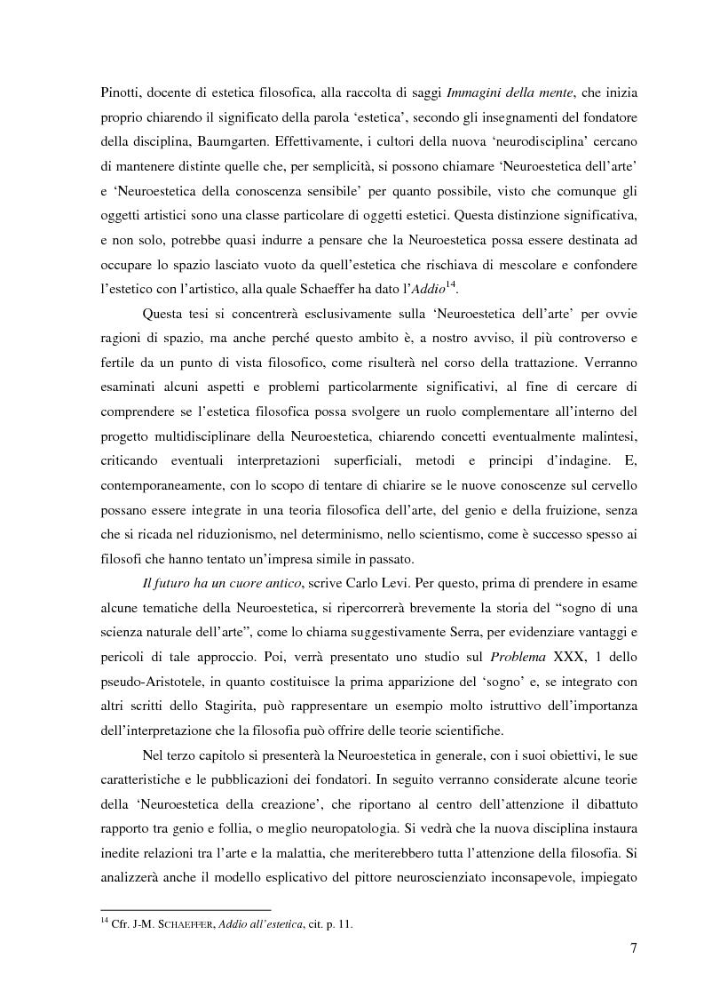 Anteprima della tesi: Il corpo dell'arte. Aspetti e problemi di Neuroestetica, Pagina 5