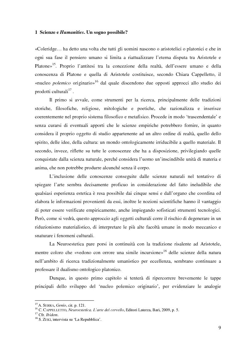 Anteprima della tesi: Il corpo dell'arte. Aspetti e problemi di Neuroestetica, Pagina 7
