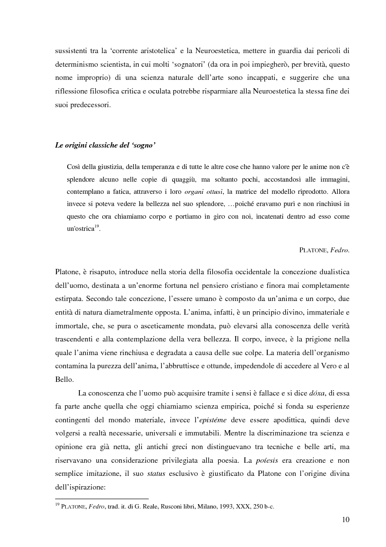 Anteprima della tesi: Il corpo dell'arte. Aspetti e problemi di Neuroestetica, Pagina 8