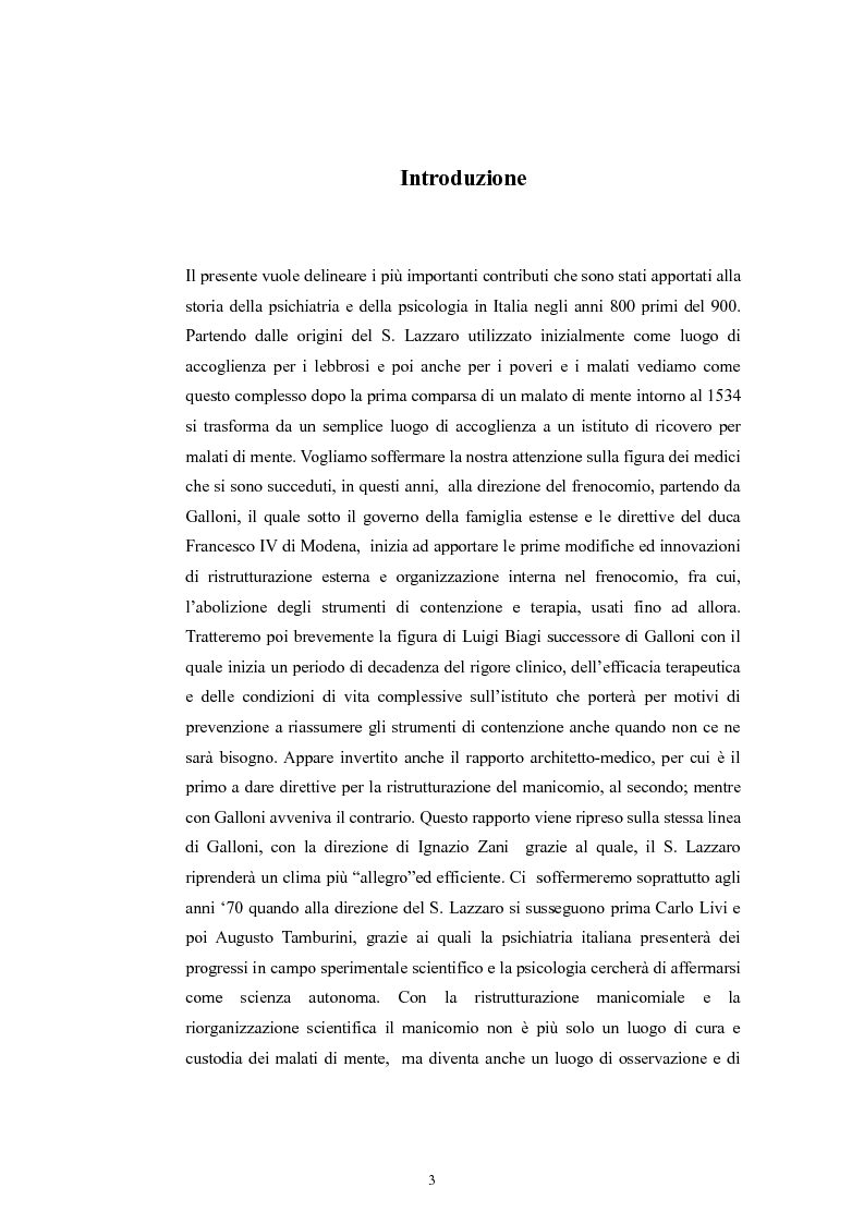 Anteprima della tesi: Per la storia della psichiatria: istituzionalizzazione e dibattito scientifico, Pagina 2