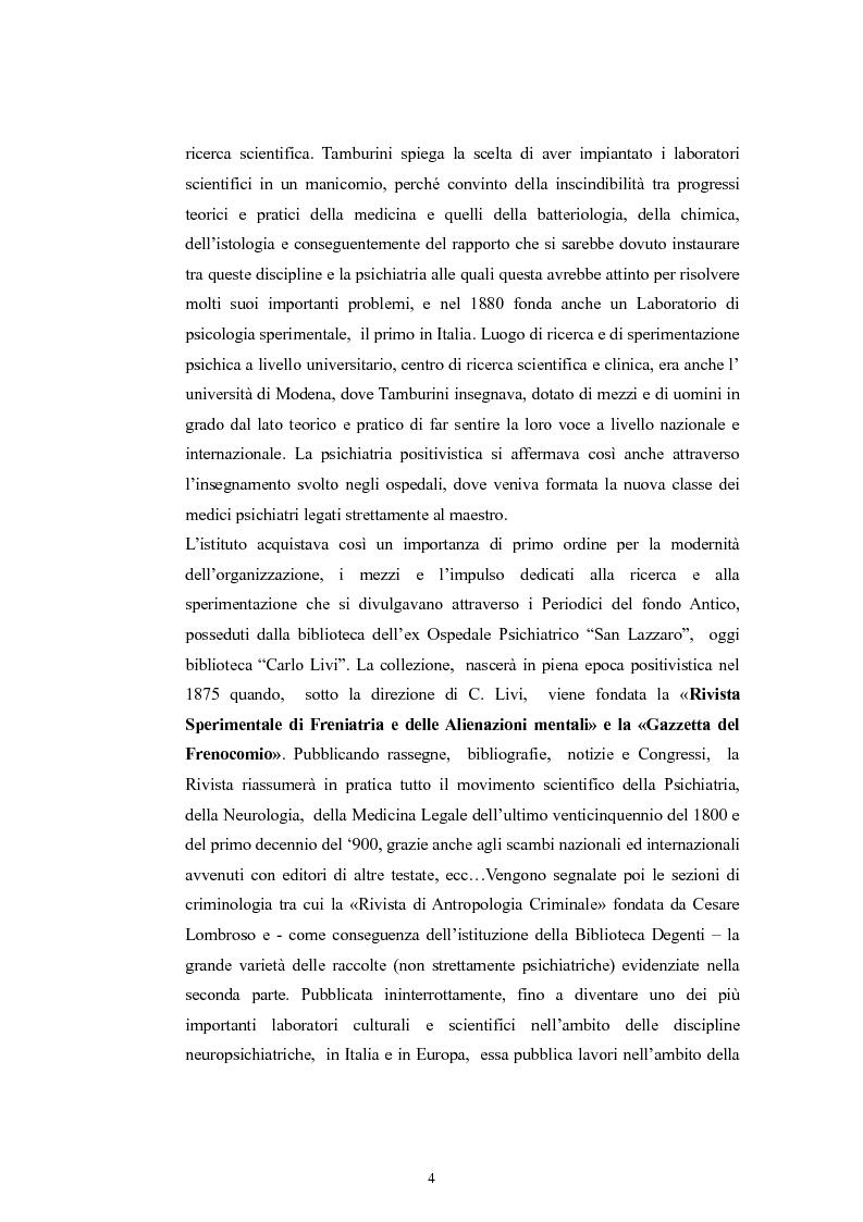 Anteprima della tesi: Per la storia della psichiatria: istituzionalizzazione e dibattito scientifico, Pagina 3