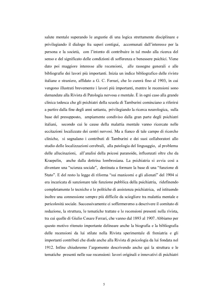 Anteprima della tesi: Per la storia della psichiatria: istituzionalizzazione e dibattito scientifico, Pagina 4
