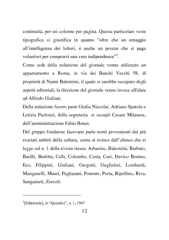 Anteprima della tesi: La rivista Quindici, storia e progetto letterario, Pagina 11