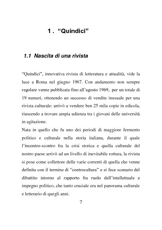 Anteprima della tesi: La rivista Quindici, storia e progetto letterario, Pagina 6