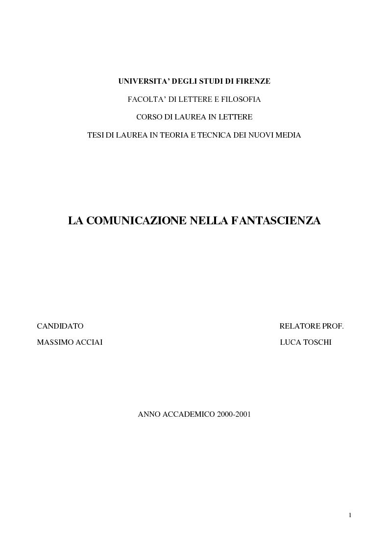 Anteprima della tesi: La comunicazione nella fantascienza, Pagina 1